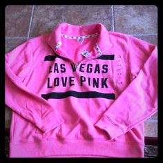 "Victoria's Secret PINKLas Vegas pullover Victoria's Secret PINK pull over sweatshirt with collar. Sweatshirt  has ""Las Vegas loves pink"" on the front . Has front  pockets and zipper neck Limited edition Only in Las Vegas  Size large New With tags                              Trades Victoria's Secret Tops Sweatshirts & Hoodies"