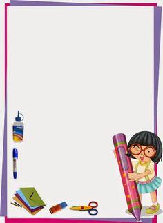 marco para caratula de niña diseño escolar