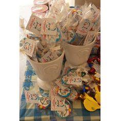 Doraemon sugar cookie favors for a baby's 1st mth celebration