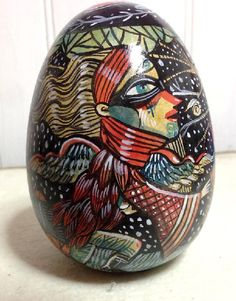 Wood Lovers, ceramic egg, one of a kind for sale Marie Meier