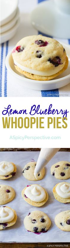Easy to Make Lemon Blueberry Whoopie Pie Recipe on ASpicyPerspective . Cake Easy to Make Lemon Blueberry Whoopie Pie Recipe on ASpicyPerspective . Brownie Desserts, No Bake Desserts, Just Desserts, Delicious Desserts, Dessert Recipes, Yummy Food, Coctails Recipes, Dishes Recipes, Recipes Dinner
