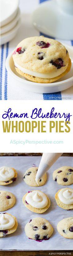 Easy to Make Lemon Blueberry Whoopie Pie Recipe on ASpicyPerspective.com #whoopiepie #blueberry
