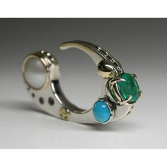 Claudio Pino, Canada: Ring, Ocean Blooms Collection: 14K Gold, 925 Sterling Silver, Emerald, Turquoise, Pearls.
