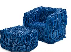 Looks like it's made of silly string Senza Fine Chair and Ottoman by Gaetano Pesce | MADinItaly