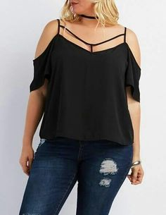 Plus Size Strappy Cold Shoulder Top Explore our amazing collection of plus size fashion styles and clothing. Plus Size Fashion For Women, Plus Size Womens Clothing, Plus Size Outfits, Plus Fashion, Fashion Styles, Chemises Sexy, Charlotte Russe Plus Size, Plus Size Looks, Mode Plus