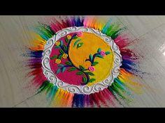 Ganesh chathurthi special rangoli design with multicolored by jyoti Easy Rangoli Designs Diwali, Indian Rangoli Designs, Rangoli Designs Latest, Rangoli Designs Flower, Free Hand Rangoli Design, Rangoli Border Designs, Rangoli Ideas, Colorful Rangoli Designs, Diwali Rangoli