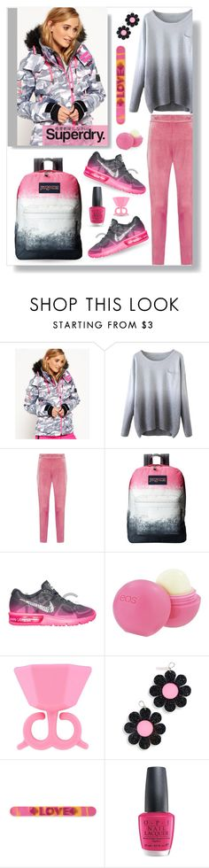 """""""The Cover Up – Jackets by Superdry: Contest Entry"""" by collagette ❤ liked on Polyvore featuring Superdry, Boohoo, JanSport, Eos, Marina Fini, OPI and MySuperdry"""