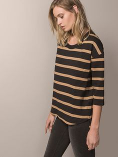 STRIPED T-SHIRT WITH BACK ZIP