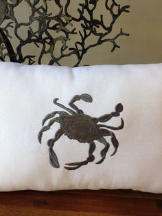 Crab Pillow by Embroiderystiches on Etsy