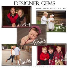 Ashe Design | Designer Gems | 5x7 Holiday Overlays Set 3. These Photoshop files make beautiful accents for your images or photography templates. Simply add any of these five (5) Holiday overlay designs to your photos, collages, photo book pages or other items to create a custom design.