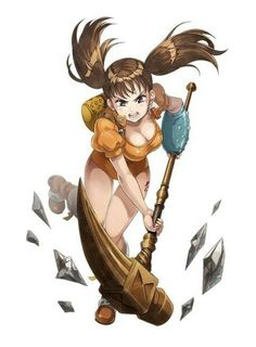 absurdres breasts brown eyes brown hair cleavage diane (nanatsu no taizai) floating hair full body hammer highres holding holding weapon large breasts leaning forward leg up leotard long hair looking at viewer nanatsu no taizai open mouth orange Seven Deadly Sins Anime, 7 Deadly Sins, Cosplay, Geeks, Manga Anime, Anime Art, Seven Deady Sins, 7 Sins, Fanart