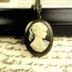 Black and White Cameo Jewelry Necklace Antiqued by pink80sgirl, $44.00
