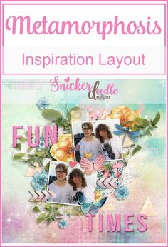 Gorgeous new kit/collection by Snickerdoodle Designs - Metamorphosis Fun times and a fun page by Cinna. Love the elements placed above and below the pictures to add depth. Layout Inspiration, Creative Inspiration, 4th July Crafts, Sd, Good Times, Layouts, Pictures, Collection, Design