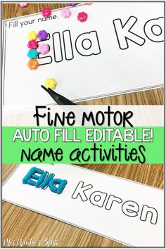 Fine motor name activities are a bundle of printables for preschool and kindergarten kids who are learning to recognize and write their names. Students will love the fun writing practice printables and fine motor activities with their names. Developing fine motor skills and learning student's names is easy to prep with this autofill editable bundle of worksheets. #nameactivitiespreschool #nameactivitieskindergarten #finemotorskills