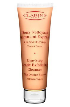 Clarins One-Step Gentle Exfoliating Cleanser available at Nordstrom. I love this for a mild exfoliator, smells like fresh oranges.