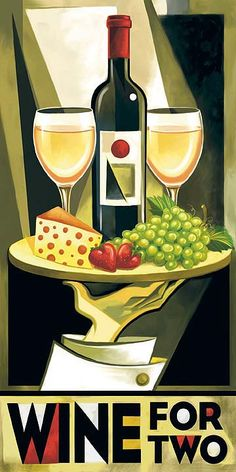 """Wine Bottle & glass Composition Art - """"Wine for Two"""" by Tim Rogerson #WineWaiter #cGreens #Wine'nDine"""