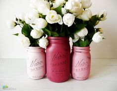 Painted jars in Valentine's Day colours.