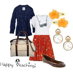 A great Polyvore outfit for teaching (minus the hair lips for me)... Cute and practical.