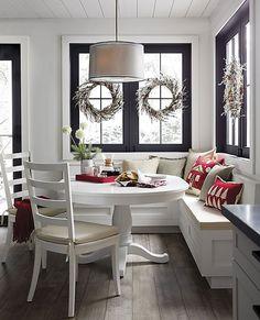 Linden Natural Pillow with Down-Alternative Insert - Home Dekor Table Design, Dining Room Design, Kitchen Design, Kitchen Layout, Kitchen Booths, Kitchen Benches, Corner Bench Kitchen Table, Kitchen Banquette Ideas, Corner Banquette