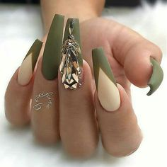 Long coffin shaped nails with olive green french tips and over sized drop shaped rhinestones with matte top coat. Beautiful nails by ✨Ugly Duckling Nails page is dedicated to promoting quality, inspirational nails created by International Nail Artists Beautiful Nail Art, Gorgeous Nails, Amazing Nails, Fabulous Nails, Dope Nails, Swag Nails, Stylish Nails, Trendy Nails, Olive Nails