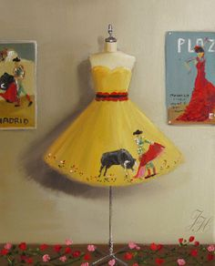 """Janet Hill ~ """"In Love With A Matador Dress"""" limited edition print by janethillstudio, $48.00 part of '364 Days Of Dresses' series. *uh-oh*"""