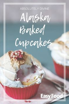 Alaska baked cupcakes are the fluffiest and most delightful of all. Give them a bake and see for yourself! #baking #meringue