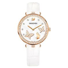 Aila Dressy Lady Butterfly Watch, Leather strap, White, Rose gold tone from Bracelet Cuir, Bracelet Watch, Swarovski Butterfly, Swarovski Watches, Michael Kors, Smartwatch, Clear Crystal, Watches For Men, Popular Watches