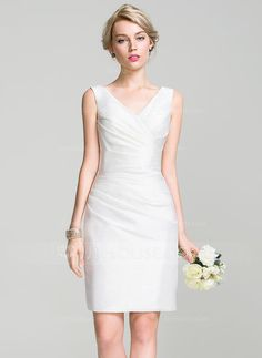 $ 116.99 (Comes in Silver) Sheath/Column V-neck Knee-Length Taffeta Bridesmaid Dress With Ruffle (007087722)