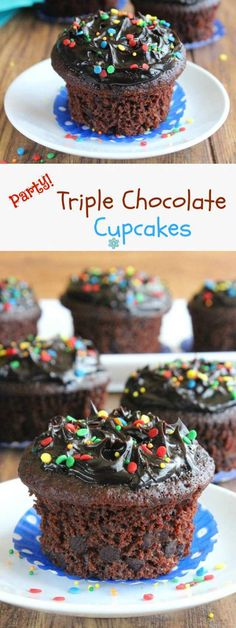 Party Triple Chocolate Cupcakes have three textures of chocolate. Cakey cupcakes have chocolate chips inside and all is topped with a creamy frosting.