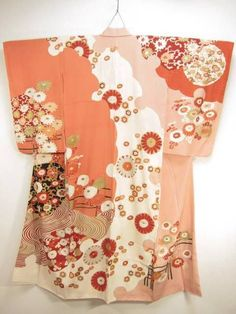 10v2967 Tall Vintage Houmongi Japanese Kimono Robe Dress Dyed Silk