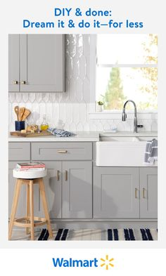 Find stylish cabinet hardware, updated faucets and tile, plus the latest shades of paint. Save on quick and easy kitchen upgrades at Walmart. Kitchen Cabinet Design, Painting Kitchen Cabinets, Kitchen Redo, New Kitchen, Kitchen Remodel, Home Renovation, Home Remodeling, Cabnits Kitchen, Cute Room Decor