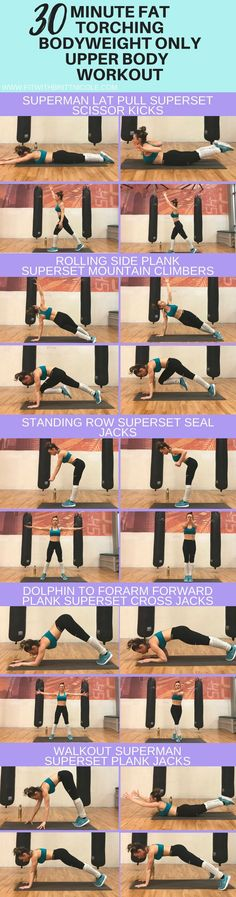 30 Minute at home bodyweight workout | upper body workout! This fat torching workout focuses on upper body that requires no equipment! This at home workout is a combination of strength training and cardio!
