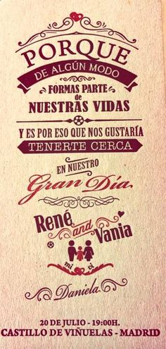 La invitación de boda  Un par de horas antes del enlace, Vania Millán ha compartido en su perfil de Twitter una fotografía de la invitación ...