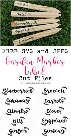 I decided to make some new stenciled garden markers using my Cricut, so I designed these Free SVG and JPEG Garden Labels for Stencil Making using Tingler Script and leaves that I designed using elements I have hand drawn. Garden Plant Markers, Herb Markers, Vegetable Garden Markers, Herb Labels, Plant Labels, Lawn And Landscape, Veg Garden, Free Plants, Garden Signs