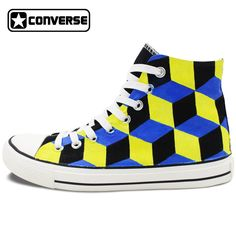 Hand Painted Skateboarding Shoes Men Women Converse All Star Design 3 Dimentional Stereogram High Top Canvas Sneakers #Affiliate