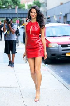 Red leather minidress