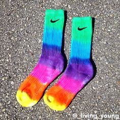 These Nike Crew Socks are hand dyed and one of a kind. They are fun, bright and comfy! Dyed in rainbow colors with professional dyes that will not wash out and fade. Shoe Size: Women / Men Material: Cotton Thanks! Crazy Socks, Cool Socks, Diy Tie Dye Nike Socks, Rainbow Socks, Nike Elite Socks, Cute Crop Tops, Athletic Socks, Nike Outfits, Sock Shoes