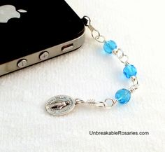 Cell Phone Charm Three Hail Mary Rosary Chaplet In Blue Come Visit UnbreakableRosaries.com