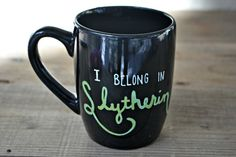 Slytherin Mug - Hand Painted Coffee Mug  - Black Mug Cup Ceramic Tea Cup -  Harry Potter Mug I belong in Slytherin Mug Hogwarts Mug