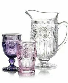 Vintage glass ~ A lot of vintage purple or lavender glass didn't start out that way.  Being exposed to sunlight or even just daylight has cause some glass to turn lavender or purple.  Amazing!