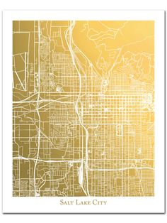 Salt Lake City Map Gold Foil Print, Foil Pressed Wall Art, Gold Foil Map of Salt Lake City, Metallic Map Print, Christmas Gift Salt Lake City Map, Denver Map, Utah Map, Gold Foil Print, Fabric Paper, Wedding Book, Print Format, Stretched Canvas Prints, Lovers Art
