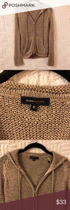 {BCBGMaxazria} Braided Knit Hoodie Jacket BCBGMaxazria braided loop knit hoodie jacket size small.  Super cute.  Tan color.  No trades / modeling.  {closet7} BCBGMaxAzria Jackets & Coats