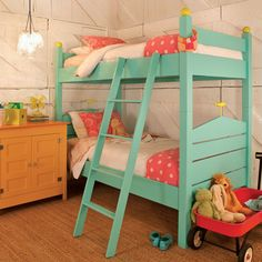 Cottage style tiffany blue bunkbed. Fun!