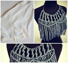 Trash To Couture: Before and After. Tshirt macramé