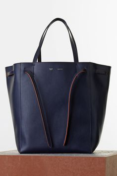 10b68a00055a Céline Spring 2015 - Medium Cabas Phantom with Belt in Navy Blue Smooth  Calfskin
