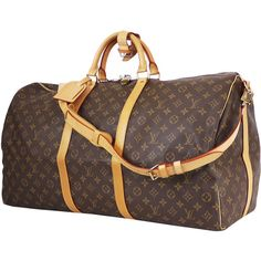 Pre-Owned Louis Vuitton Monogram Keepall 60 Bandouliere Travel Bag (76.330 RUB) ❤ liked on Polyvore featuring bags, luggage and brown