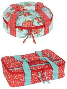 """Pretty potluck carriers for all your family and festive gatherings!   Carry pies, cupcakes, casseroles and more to all your holiday potlucks and parties in these stylish, quilted carriers. The perfect wedding or housewarming gift, these carriers will keep your casseroles piping hot and your desserts chilled.  Finished sizes:  Casserole carrier: 9 1/2""""W x 14 1/2""""H x 4""""D to fit standard 9"""" x 13"""" baking dish  Pie carrier: 3""""H x 11 1/2"""" in diameter"""