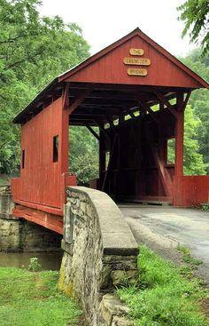 Ebenezer Church Covered Bridge ~ Mingo Creek County Park. Northwest of Kammerer onRt 136 a short distance to Sichi Hill Rd. North on Sichi Hill Rd to Mingo Creek Rd. East on Mingo Creek Rd about 0.5 mile to Park Rd, turn south to Bridge. Washington Co - PA