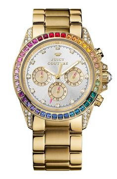 So fun! Juicy Couture 'Stella' Rainbow Crystal Bracelet Watch