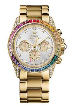 So fun! Juicy Couture 'Stella' Rainbow Crystal Bracelet Watch